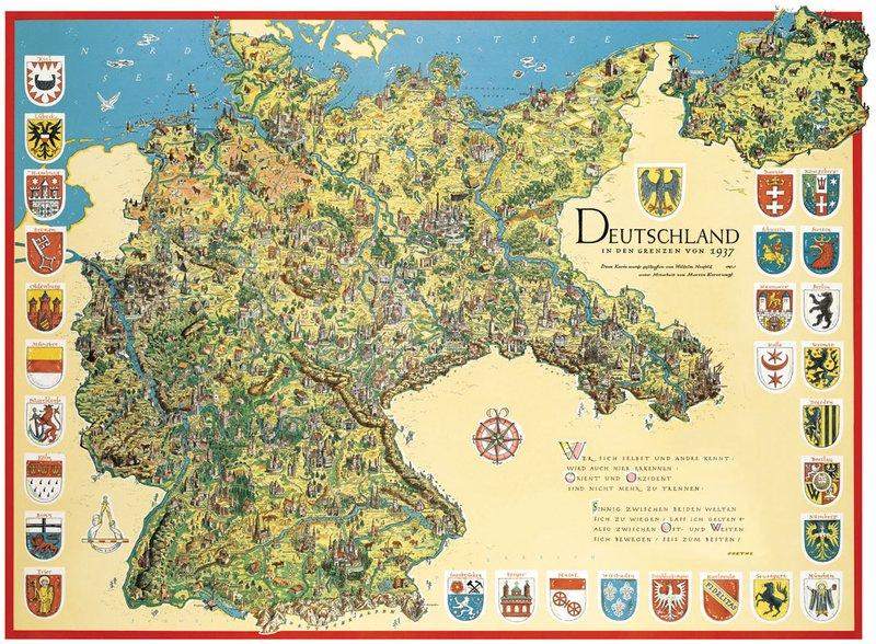 Schmuckkarte Deutschland In Den Grenzen Von 1937 Zenker
